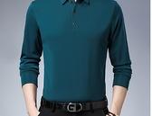 POLO衫 冬季加絨保暖爸爸加厚純棉男士翻領長袖t恤新款中年男POLO衫上衣 歐歐