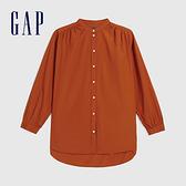 Gap女裝 棉質舒適亮色拉鍊立領長袖襯衫 613866-紅褐色