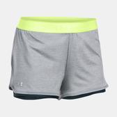 UA HeatGear Armour [1290800-025] 女 運動 訓練 短褲 乾爽 透氣 舒適 2合1 灰