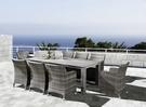 【南洋風休閒傢俱】休閒桌椅系列-HT378 220CM鋁板長方桌戶外編藤沙發椅組 藤編餐桌椅組 九件組