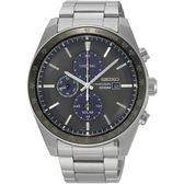 SEIKO 精工Criteria 太陽能計時腕錶-黑x銀/44mm V176-0AZ0D(SSC725P1)