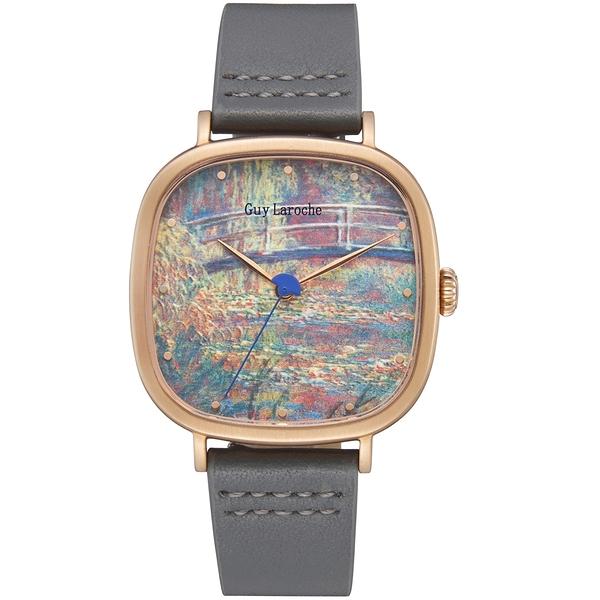姬龍雪Guy Laroche Timepieces藝術系列腕錶-莫內 GA1002WPPH-02 方形x金殼
