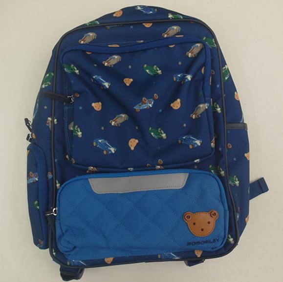 *妮好快樂*韓國帶回_WING HOUSE 藍色熊熊兒童外出 / 上學背包正品(含手提袋)