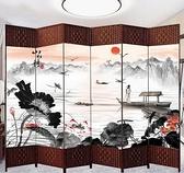 中式屏風隔斷簡易摺疊客廳玄關牆行動摺屏簡約現代辦公室實木屏風qm 向日葵