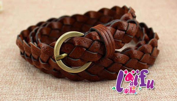 ★草魚妹★H461腰帶編織銅頭復古編織腰帶細腰帶皮帶,售價169元