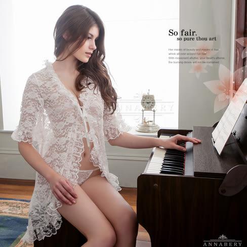 大尺碼睡衣~Annabery白玫瑰優雅蕾絲二件式罩衫丁褲組  休閒內衣 居家服內睡衣《生活美學》
