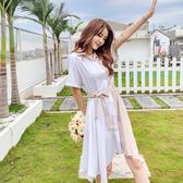 VK精品服飾 韓系白杏拼色甜美寬鬆系腰帶顯瘦襯衣短袖洋裝
