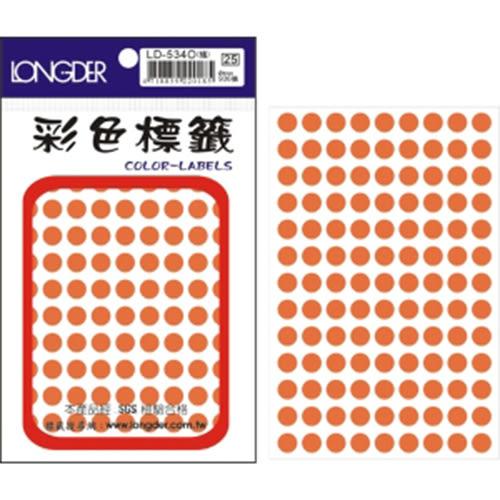 【龍德 LONGDER】LD-534-O 螢光橘 圓標籤 8mm/936pcs(20包/盒)