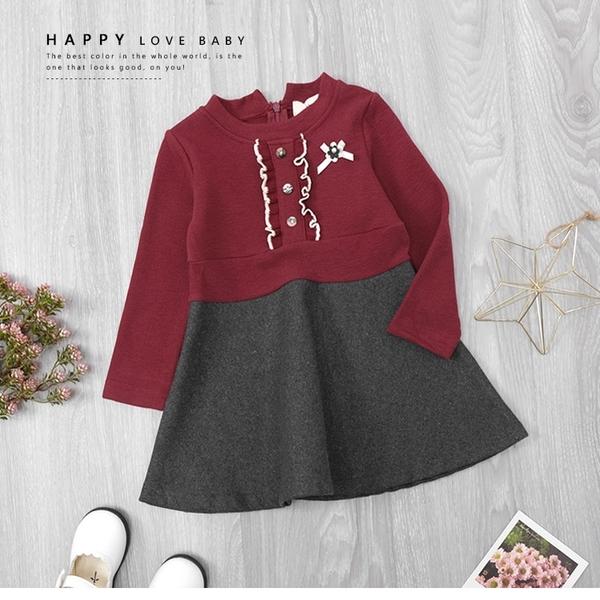 韓版氣質典雅木耳編排釦小花珍珠洋裝 連身裙 深灰 紅 保暖 女童洋裝 厚 兒童洋裝 冬童裝