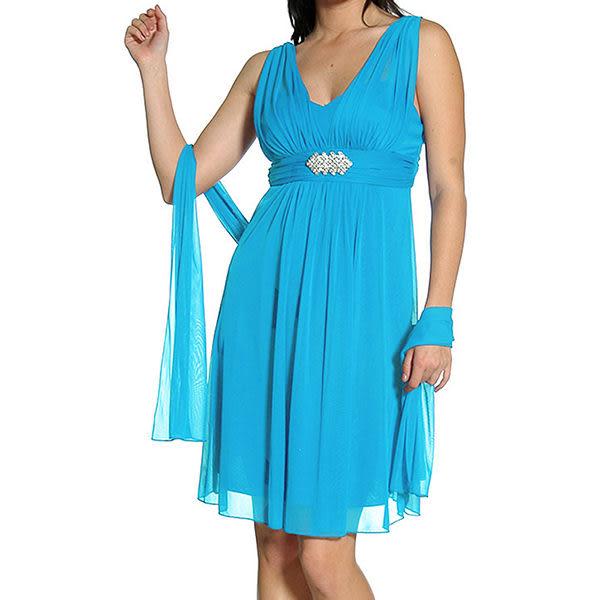 『摩達客』美國進口Landmark 皇家V領浪漫優雅藍色及膝紗裙派對小禮服/洋裝(含禮盒/附絲巾(1831395023)