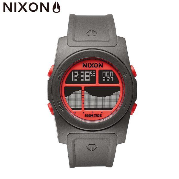 NIXON 手錶 原廠總代理 A385-1689 RHYTHM 紅灰色 潮流時尚膠錶帶 男女 運動 生日 情人節禮物