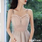 宴會小晚禮服裙新款氣質平時可穿伴娘服吊帶生日洋裝學生女 青木鋪子