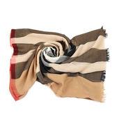 BURBERRY 格紋木代爾紗線與喀什米爾絲綢圍巾( 駝色格紋)
