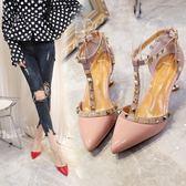小清新高跟鞋女少女裸色中跟細跟5cm性感側空貓跟鞋  蒂小屋服飾 618來襲