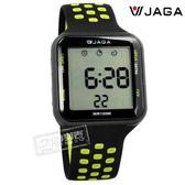 JAGA 捷卡 / M1179C-AF / 方型電子 計時碼錶 鬧鈴 防水100米 透氣運動 矽膠手錶 黑綠色 38mm