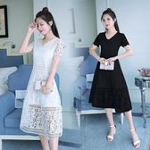 夏季新款V領大碼蕾絲洋裝大擺中長款禮服