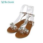 【Bo Derek 】璀璨寶石繫踝平底涼鞋-銀色