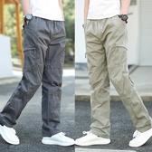 工裝長褲 秋季新款青年直筒寬鬆長褲休閒褲男寬鬆工裝褲男褲多口袋運動褲子