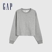 Gap女裝 碳素軟磨系列 法式圈織純棉休閒上衣 939953-淺灰色