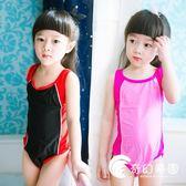 兒童專業泳衣女孩比賽初學訓練連體三角大小女童學生泳衣專業泳衣-奇幻樂園