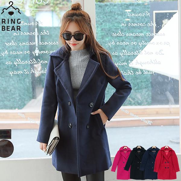 質感外套--冬季必Buy款時尚指標休閒雙排扣斜插式口袋毛呢外套(黑.紅.桃.藍L-3L)-J297眼圈熊中大尺碼