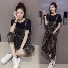 迷彩背帶褲夏季初中學生韓版兩件套裝少女牛仔吊帶褲T恤 琉璃美衣