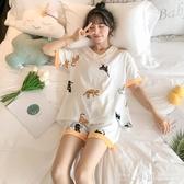 韓版睡衣女夏季薄款可愛短袖純棉兩件套裝家居服寬鬆花邊公主貓咪