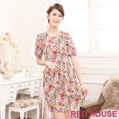 【RED HOUSE-蕾赫斯】滿版花朵修身打褶洋裝(卡其色)