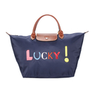 LONGCHAMP刺繡LUCKY短提把中型摺疊尼龍水餃包(深藍色)480531-556