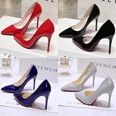 鞋子女學生韓版裸色高跟鞋女細跟尖頭百搭黑色漆皮藍色大碼單鞋女 快速出貨