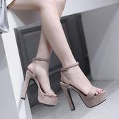 高跟鞋涼鞋女新款恨天高14cm超高跟鞋夜場粗跟防水臺15情趣性感夜店女13可卡衣櫃