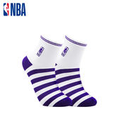 NBA 平版襪 MIT 運動配件 LogoMan條紋刺繡短襪 (白/紫)