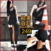克妹Ke-Mei【AT40173】獨家自訂,歐美單!龐克金屬圓杯彈力小腿緊身褲