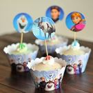 【發現。好貨】烘焙包裝紙杯蛋糕 蛋糕裝飾 插牌圍邊+插牌裝飾 派對用品 【冰雪奇緣】