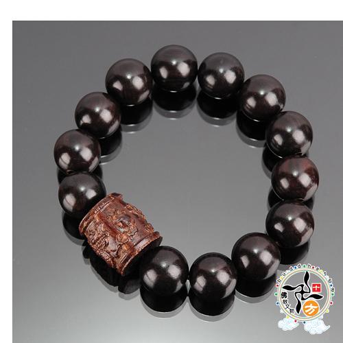 蓮花(沉木)+黑檀手珠15 mm   +平安加持小佛卡【十方佛教文物】