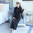 衛衣長裙秋冬韓國連帽休閒長款女外套打底長袖修身套頭加絨洋裝 小時光生活館