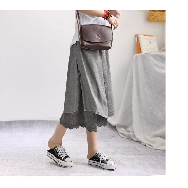L假兩件膝下褲裙  花灰外裙裡寬褲二色-月兒的綺麗莊園