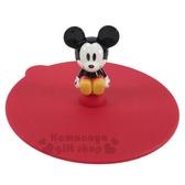 〔小禮堂〕迪士尼 米奇 立體造型矽膠杯蓋《紅.坐姿》直徑10cm.防漏杯蓋 4973307-41330
