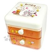〔小禮堂〕史努比桌上型塑膠雙抽收納盒《米橘信封》置物盒抽屜盒飾品盒4548626 08850