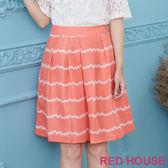 Red House 蕾赫斯-花朵條紋裙(橘色) 零碼出清,滿499元才出貨