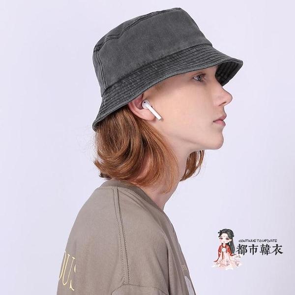 牛仔帽 日系復古做舊洗水牛仔灰漁夫帽街頭潮牌韓版盆帽遮陽出游帽男女潮