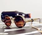 復古圓框鏡茶色男女鏈條太子鏡蒸汽朋克鏡重金屬原宿墨鏡 台北日光