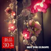 婚禮彩燈 婚禮佈置led彩燈閃燈結婚用品仿珍珠絹布花裝飾燈串房間臥室夜燈 玩趣3C