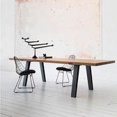 北美原木大板餐桌鐵藝電腦桌 北歐簡約多人工作臺 實木辦公會議桌 YTL