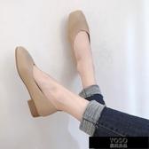 豆豆鞋 豆豆鞋女秋季新款韓版粗跟淺口方頭溫柔單鞋百搭仙女奶奶鞋潮 快速出貨