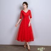 一字肩敬酒服新娘孕婦新品夏結婚禮服中長版高腰大尺碼紅色胖mm  快速出貨
