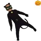兒童萬聖節服裝 英雄裝 黑貓眼罩表演服 貓咪角色扮演 現貨