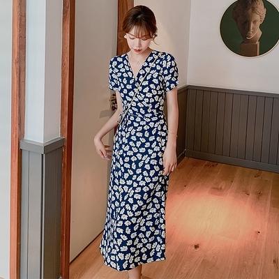 碎花洋裝連身裙~夏裝女裝 少女復古法式小雛菊裙子小個子碎花連身裙GB603A日韓屋