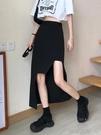 長裙黑色不規則半身裙女夏包臀設計感高腰超a字開叉中長裙子