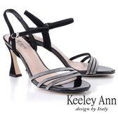★2019春夏★Keeley Ann耀眼新娘 水鑽鞋面細帶造型跟鞋(黑色) -Ann系列